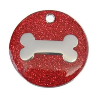 Glitter Pet Tags Bone Printed