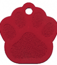 Aluminium Paw Print Classic Red Tags